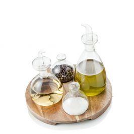 Set 4 lahviček na koření a stojanu z akáciového dřeva Brandani Verre