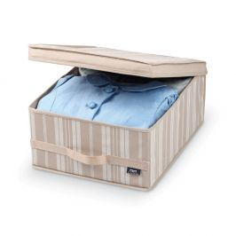 Béžový úložný box Domopak Stripes, délka45cm