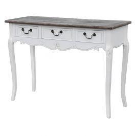 Bílý konzolový stolek z topolového dřeva s přírodními detaily a 3 zásuvkami Livin Hill Rimini