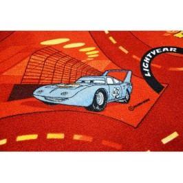 Metrážový koberec World of cars červený