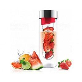 Skleněná láhev s infuserem ASOBU Flavour It red/silver 480ml
