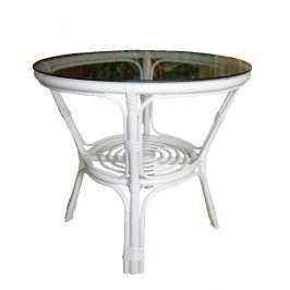 Ratanový obývací stolek BAHAMA - bílý ratan