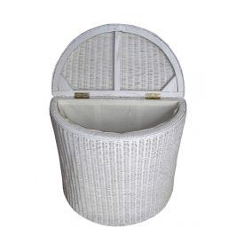 Ratanový prádelní koš půlkulatý - bílý ratan