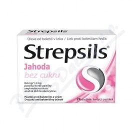 STREPSILS JAHODA BEZ CUKRU 0,6MG/1,2MG pastilka 24