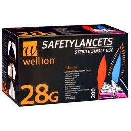LANCETY WELLION SAFETY LANCETS 28G JEDNORÁZOVÉ BEZPEČNOSTNÍ LANCETY 28G,200KS/2ROKY