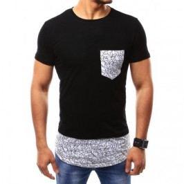 Pánské černé tričko s potiskem a kulatým výstřihem