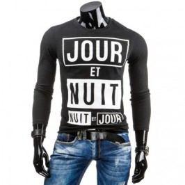 Pánské tričko s potiskem s dlouhým rukávem s potiskem černé