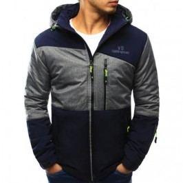 Pánská bunda přechodová s kapucí tmavě modrá