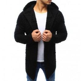 Pánský svetr kardigan s kapucí černý