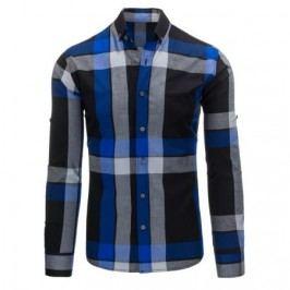 Černo-světle modrá pánská košile kostkovaná