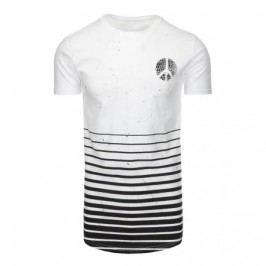 Pánské bílé tričko s potiskem a kulatým výstřihem