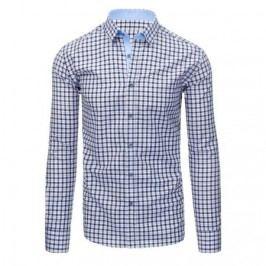 Tmavě modrá pánská košile mřížkovaný vzor s dlouhým rukávem slim fit