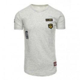 Pánské stylové tričko s pruhy šedé
