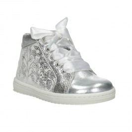 Dětská stříbrná obuv s mašlí