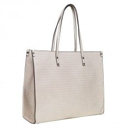 Krémová dámská kabelka s pleteným vzorem