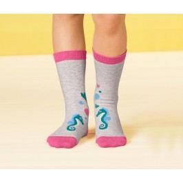 Dětské ponožky s motivem, petrolejové a světle šedé, 2 páry