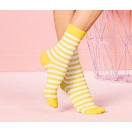 Dámské ponožky, tyrkysové s melírem, žluté a modré s proužky, 3 páry