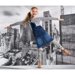 Tepláková sukně džínového vzhledu s laclem Dívka